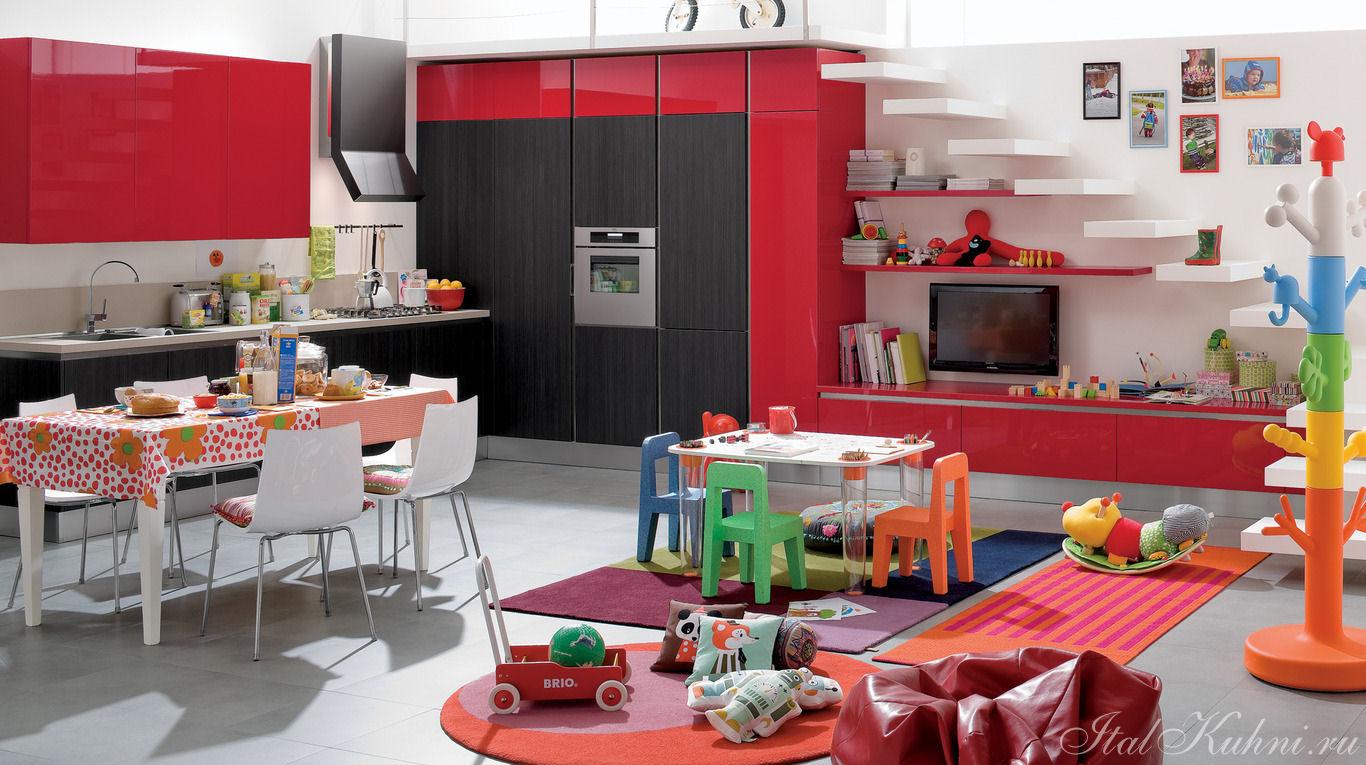 Cucina moderna rossa e grigia